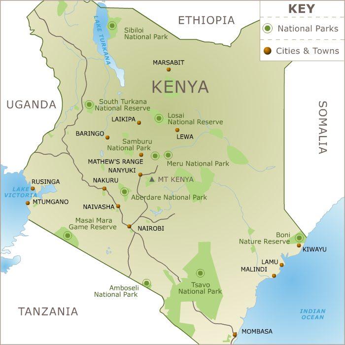 Mapa národních parků v Keni