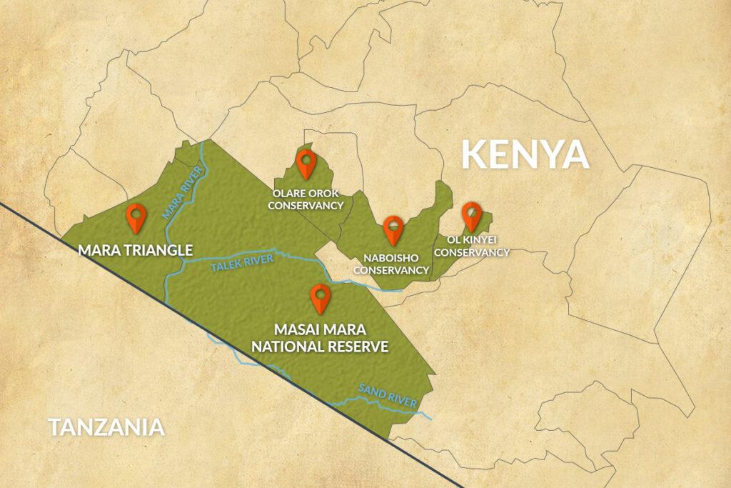 Mapa národní rezervace a přilehlých chráněných oblastí